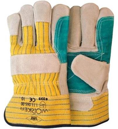 Splitlederen Handschoen Met Groene Pistoolversterking 10