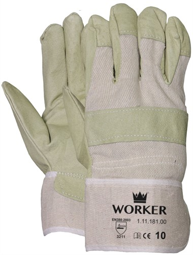 Varkensnerflederen Handschoen Met Ecru Doek 10