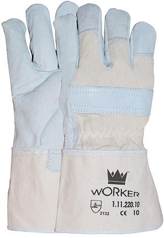 Nerflederen Handschoen Met 10 Cm Canvas Écru Kap 10