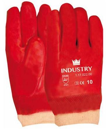 Handschoen PVC Rood Met Tricot Manchet En Gesloten Rugzijde Rood 10