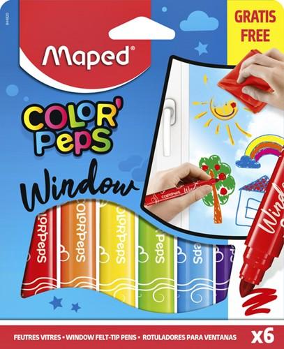 Viltstift Maped Window blister à 6 stuks ass met doekje