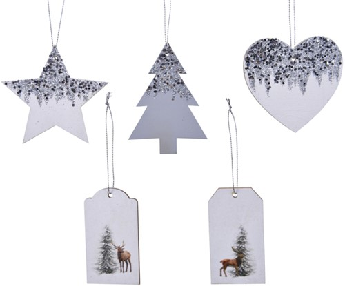 Houten hangers kerstfiguren display à 48 stuks assorti