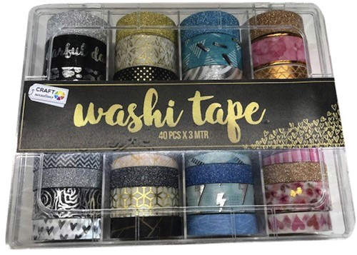 Washitape box met 40 rollen 6, 10, 15 en 20 mm x3m assorti