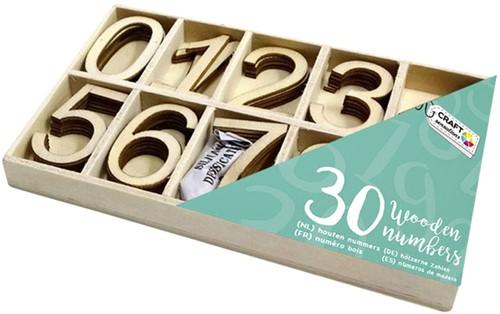 Houten nummers Craft Sensations 0 t/m 9  40x23mm  doos à 30 stuks