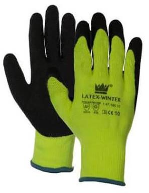 Latex-Winter Handschoen Zwart/geel 10