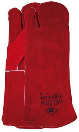 Lashandschoen Van Rood Splitleder, 3-vinger Model 10
