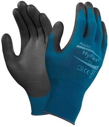 Ansell HyFlex 11-616 Handschoen Zwart/blauw 8