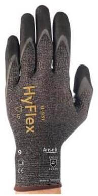 Ansell HyFlex 11-931 Handschoen Grijs/zwart 10