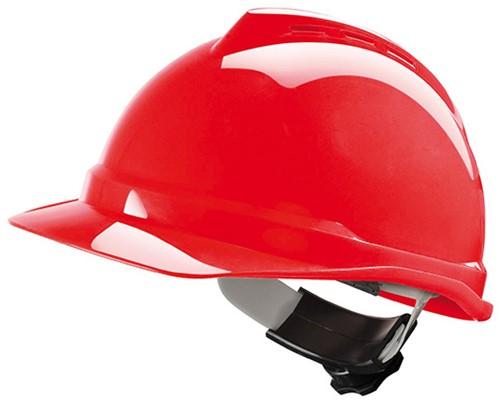 MSA V-Gard 500 Geventileerde Veiligheidshelm Met Fas-Trac III Binnenwerk Rood