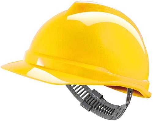 MSA V-Gard 500 Ongeventileerde Veiligheidshelm Met Push-Key Binnenwerk Geel