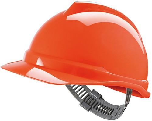 MSA V-Gard 500 Ongeventileerde Veiligheidshelm Met Push-Key Binnenwerk Oranje