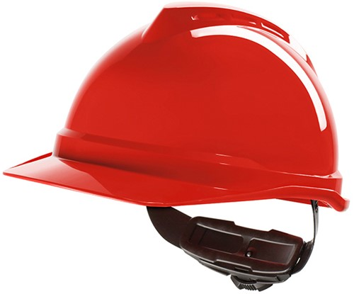 MSA V-Gard 500 Ongeventileerde Veiligheidshelm Met Fas-Trac III Binnenwerk Rood