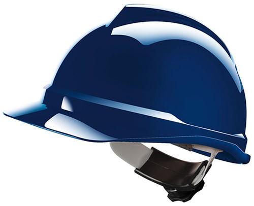 MSA V-Gard 500 Ongeventileerde Veiligheidshelm Met Fas-Trac III Binnenwerk Blauw