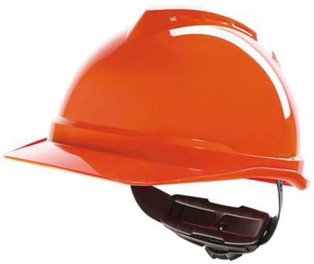 MSA V-Gard 500 Ongeventileerde Veiligheidshelm Met Fas-Trac III Binnenwerk Oranje