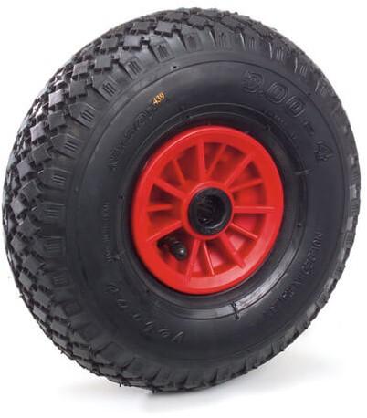 PU-geschuimd wiel 400 x 100 mm Stalen velg - rood - rilprofiel