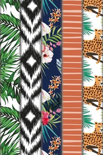 Inpakpapier Haza botanic 200x70cm assorti