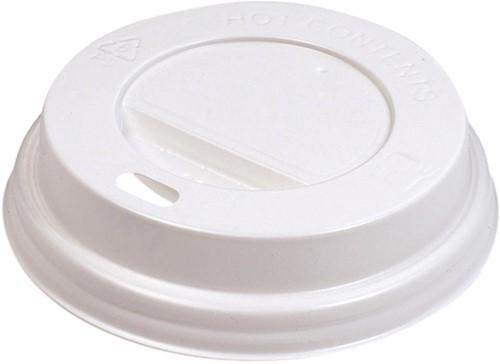 Bekerdeksel Ø80mm met drinkgat wit 100 stuks