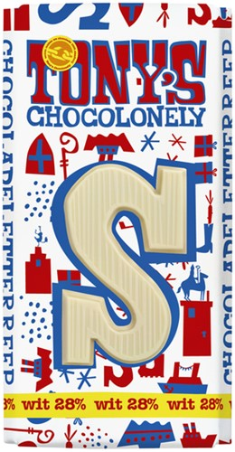Tony's Chocolonely witte chocolade letter S 180gr