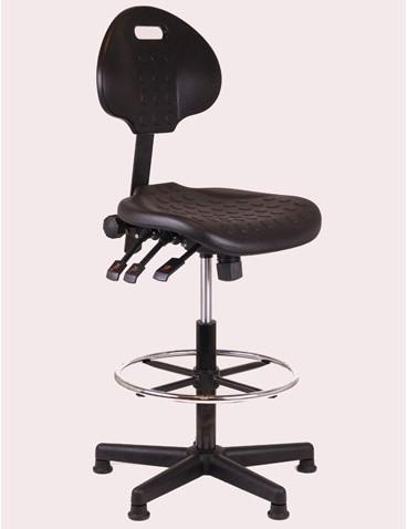 Loketstoel / Werkstoel zwart hoog + Kunststof voet