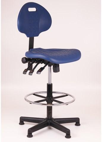 Loketstoel / Werkstoel blauw hoog + Kunststof voet