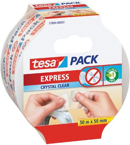 Verpakkingstape Tesa 50mmx50m afscheurbaar transparant