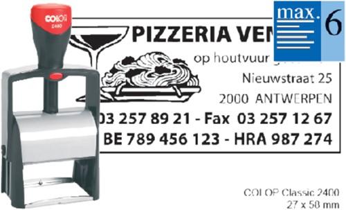 Tekststempel Colop 2400 +bon 6regels 58x27mm