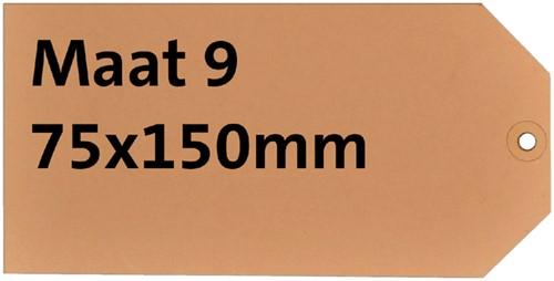Label karton nr9 200gr 75x150mm chamois 1000stuks