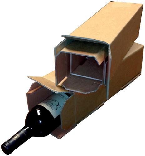Wijndoos CleverPack 112x112x355mm karton bruin 3stuks