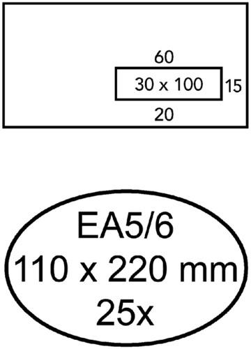 Envelop Quantore 110x220mm venster 3x10cm rechts zelfkl 25st