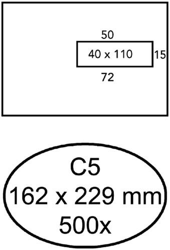 Envelop Quantore 162x229mm venster 4x11cm rechts 500stuks