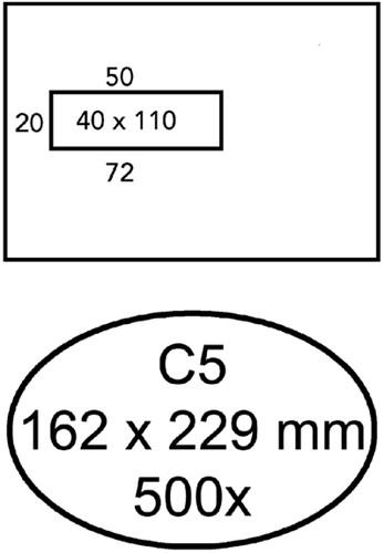 Envelop Quantore 162x229mm venster 4x11cm links 500stuks