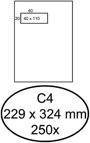 Envelop Quantore 229x324mm venster 4x11cm links zelfkl 250st